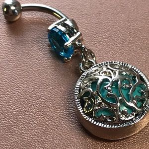 Jewelry - Blue Crystal and turquoise Belly Ring